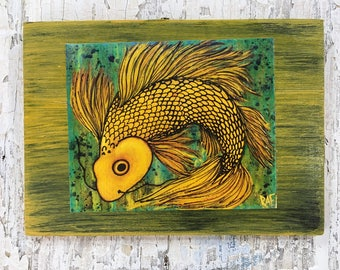 Sunshine Koi Wall Art by artist Rafi Perez Original Artist Enhanced Print On Wood