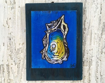 Oyster Pearl Hidden Wall Art by artist Rafi Perez Original Artist Enhanced Print On Wood