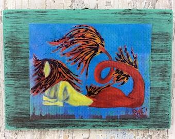 Tiger Mermaid Wall Art by artist Rafi Perez Original Artist Enhanced Print On Wood