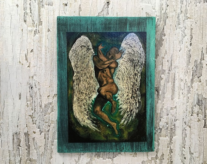 Guardian Angel Rustic Wall Art By Artist Rafi Perez Original Textured Artist Enhanced Print On Wood