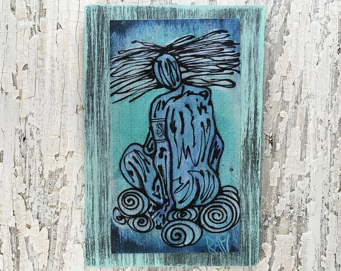 Air Elemental Rustic Wall Art By Artist Rafi Perez Original Textured Artist Enhanced Print On Wood