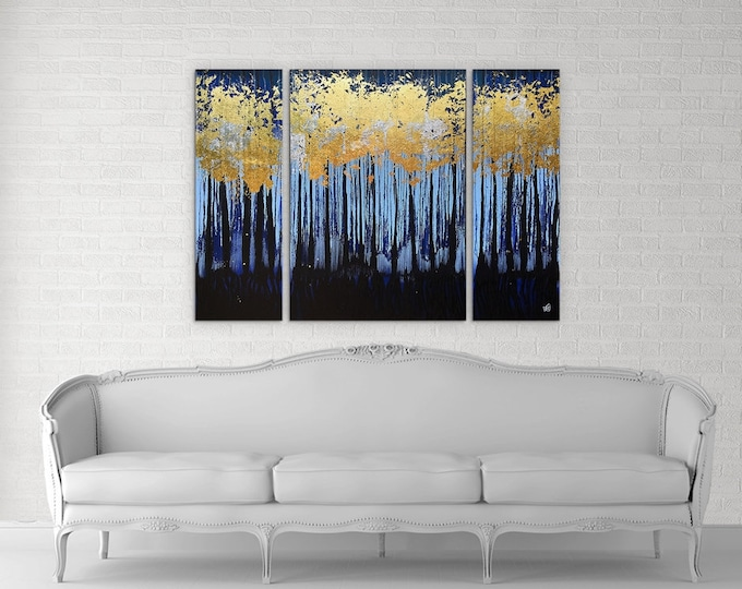 Golden Forest Textured original painting by artist Rafi Perez Mixed Medium Gold Leaf on Canvas 36X48 Triptych