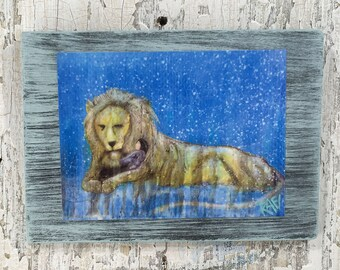Lion And Child Wall Art by artist Rafi Perez Original Artist Enhanced Print On Wood
