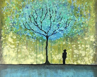 Right By The Wishing Tree Textured original painting by artist Rafi Perez Mixed Medium on Canvas 30X30