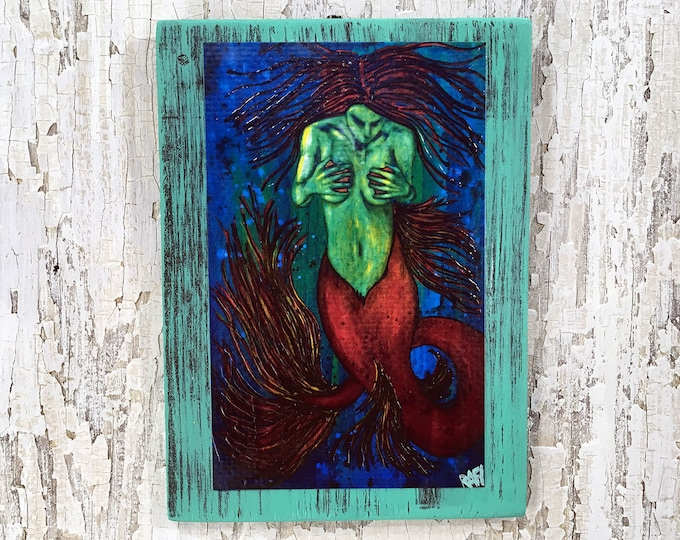 Dark Siren Rustic Wall Art By Artist Rafi Perez Original Textured Artist Enhanced Print On Wood
