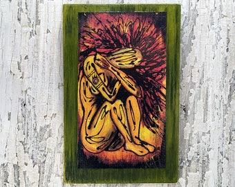 Fire Elemental Wall Art by artist Rafi Perez Original Artist Enhanced Print On Wood