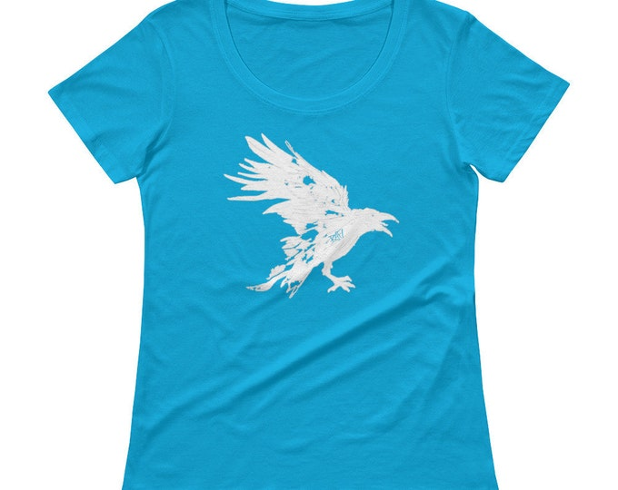 Nevermore White Raven Ladies' Scoopneck T-Shirt Design By Rafi Perez