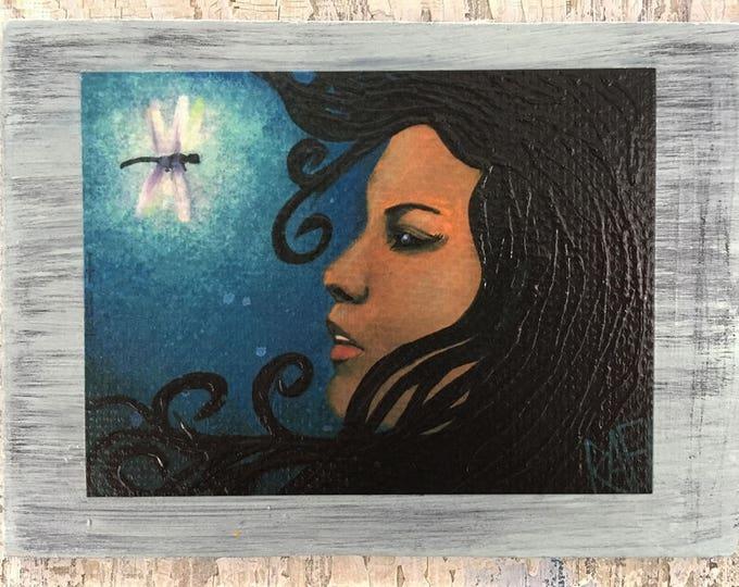 Dragon Fly Wall Art by artist Rafi Perez Original Artist Enhanced Print On Wood