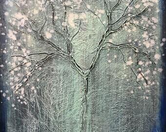 Magic Seasons Winter Tree Textured Original Painting by artist Rafi Perez on Canvas 18X24
