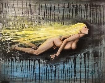 Comet Of Light Original Painting By Artist Rafi Perez Mixed Medium on Canvas 18X24