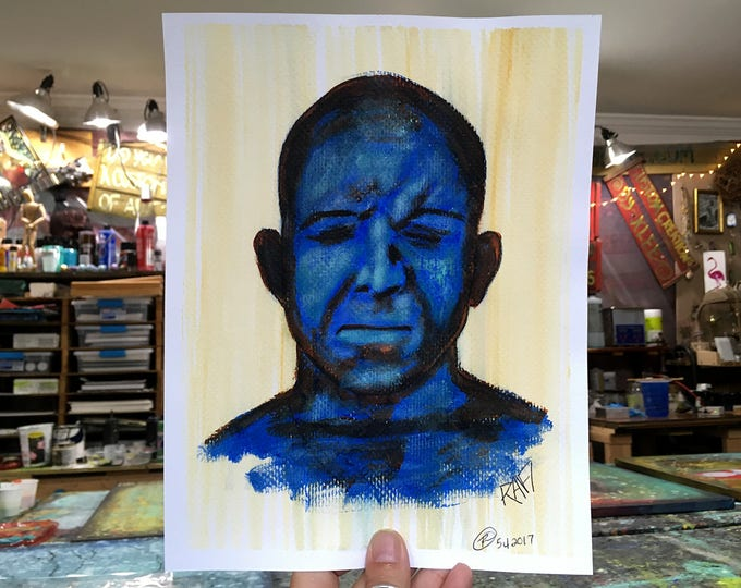 Blue Man Study Art by artist Rafi Perez Original Painting On Paper 8X10 Expressions Study