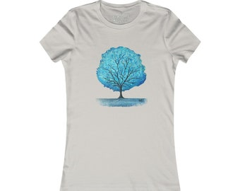 Blue Happy Little Tree Women's Favorite Tee Design By Rafi Perez