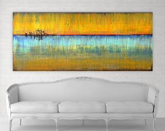 Sunrises And Blue Skies Original Painting By Artist Rafi Perez Mixed Medium on Canvas 8Ft