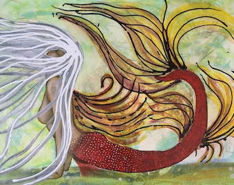 Abstract Mermaid Original Painting By Artist Rafi Perez Mixed Medium on Canvas 18X24
