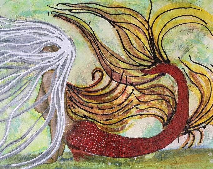 Abstract Mermaid Original Painting By Artist Rafi Perez Mixed Medium on Canvas 18X24