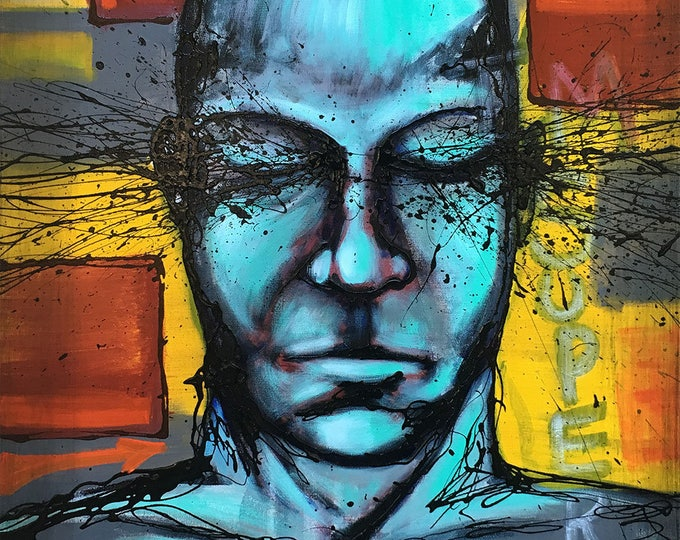Original Painting Blue Man Expressions Wall Art by artist Rafi Perez Mixed Medium on Canvas 24X30