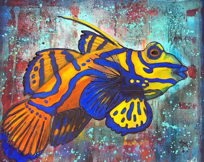 Mandarin Goby Fish Wall Art by Artist Rafi Perez Mixed Medium on Canvas 30X34 - Colorful Fish - Contemporary Fish Art