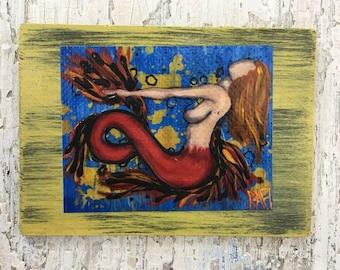 Ginger Mermaid Wall Art by artist Rafi Perez Original Artist Enhanced Print On Wood