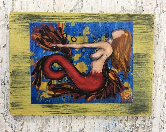 Ginger Mermaid Rustic Wall Art By Artist Rafi Perez Original Textured Artist Enhanced Print On Wood