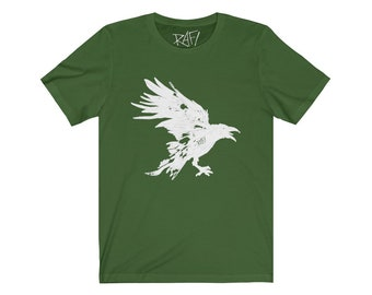Nevermore White Raven Unisex Jersey Short Sleeve Artistic Tee Design By Rafi