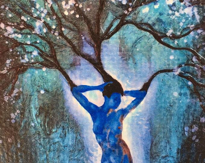 Blue Woman Tree Rustic Wall Art By Artist Rafi Perez Original Textured Artist Enhanced Print On Wood