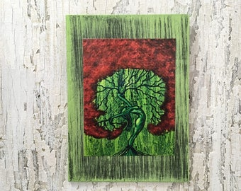 Nature Of Love Tree Wall Art by artist Rafi Perez Original Artist Enhanced Print On Wood