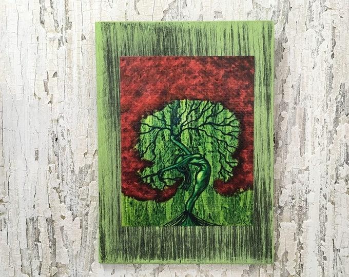 Nature Of Love Tree Rustic Wall Art By Artist Rafi Perez Original Textured Artist Enhanced Print On Wood