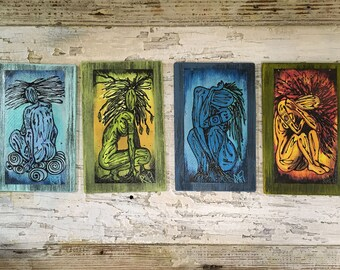 Elemental Set Of 4  Wall Art by artist Rafi Perez Original Artist Enhanced Print On Wood