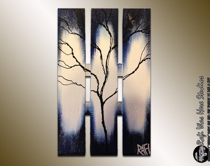Large Abstract Tree - Winter Tree Painting on wood - Seasons of Change