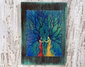 Sister Love Wall Art by artist Rafi Perez Original Artist Enhanced Print On Wood