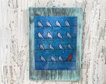Red Bird Be Different Wall Art by artist Rafi Perez Original Artist Enhanced Print On Wood