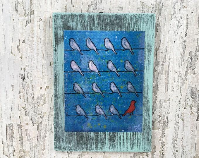 Red Bird Be Different Rustic Wall Art By Artist Rafi Perez Original Textured Artist Enhanced Print On Wood