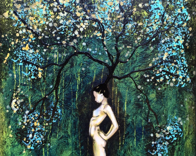 Nature Of Her Original Painting Woman Tree Wall Art by artist Rafi Perez Mixed Medium on Canvas 24X30