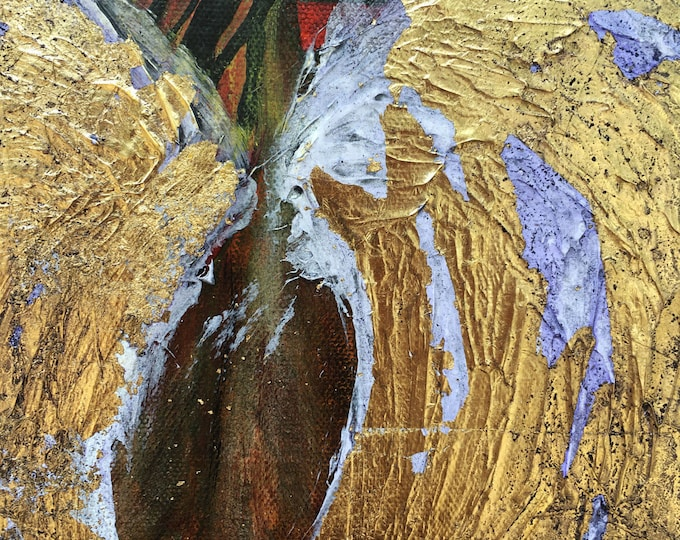 Golden Angel Wings original painting by artist Rafi Perez Mixed Medium on Canvas 16X20