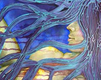 Lilac Abyss Of Truth Original Painting by artist Rafi Perez Mixed Medium on Gallery Wrapped Canvas