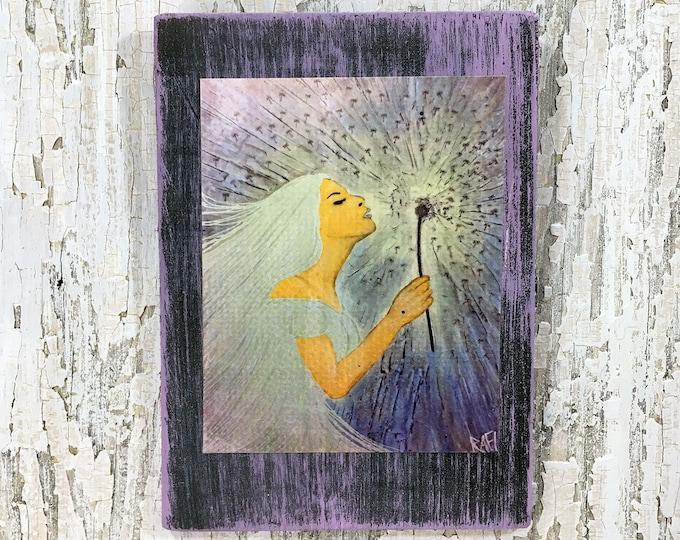 The Wish Rustic Wall Art By Artist Rafi Perez Original Textured Artist Enhanced Print On Wood