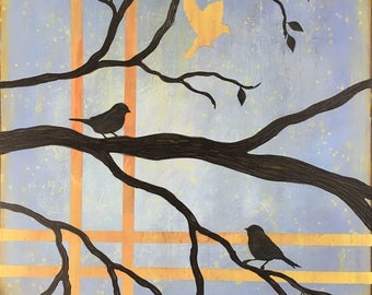 Birds On A Limb 1 Wall Art Series By Artist Rafi Perez Original Art On Gallery Wrapped Canvas 30X30