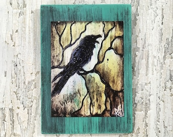 The Raven Wall Art by artist Rafi Perez Original Artist Enhanced Print On Wood