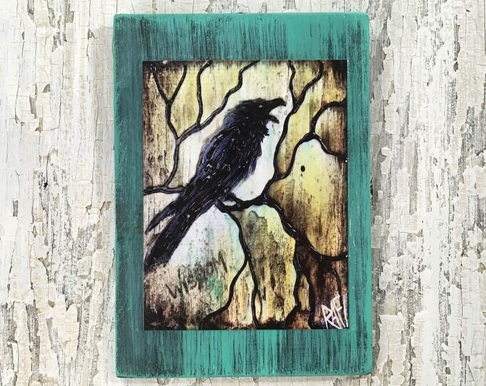 The Raven Rustic Wall Art By Artist Rafi Perez Original Textured Artist Enhanced Print On Wood