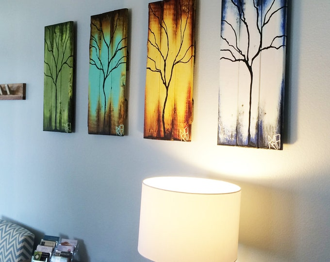 "Four Seasons of Change Tree Paintings on Reclaimed Wood 48"" ft Large 4 Piece By Artist Rafi Perez"