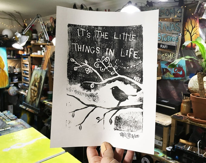 It's The Little Things In Life Limited Edition Original Print By Rafi Perez - Etching - Block Print - Hand Crafted Print - Motivational Art