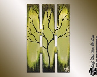 Large Abstract Tree on wood - Green Spring Tree Painting - Seasons of Change