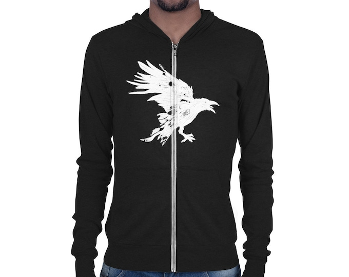 Nevermore White Raven Unisex zip hoodie Design By Rafi Perez