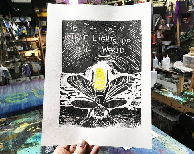 Be The Glow Limited Edition Original Print By Rafi Perez - Inked Etching - Block Print - Hand Crafted Print - Motivational Art