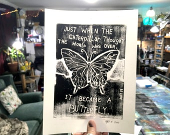 Become A Butterfly Limited Edition Original Print By Rafi Perez - Inked Etching - Block Print - Hand Crafted Print - Motivational Art