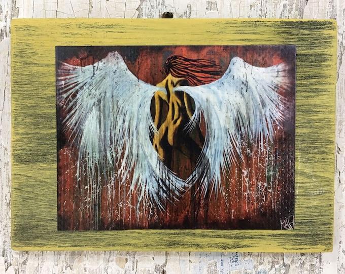 Dark Angel Wall Art By Artist Rafi Perez Original Artist Enhanced Print On Wood