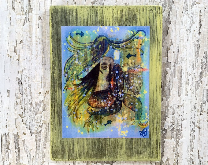 Grunge Mermaid Rustic Wall Art By Artist Rafi Perez Original Textured Artist Enhanced Print On Wood