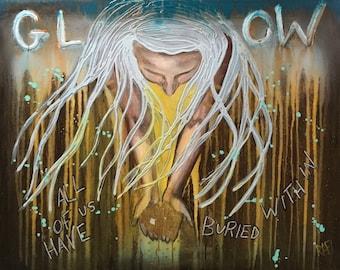 Golden Glow Empowering Art Original Painting By Artist Rafi Perez Mixed Medium On Canvas 24X30