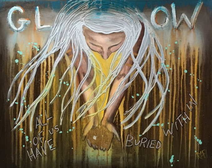 Golden Glow Empowering Art Original Painting By Artist Rafi Perez Mixed Medium On Canvas 24X30