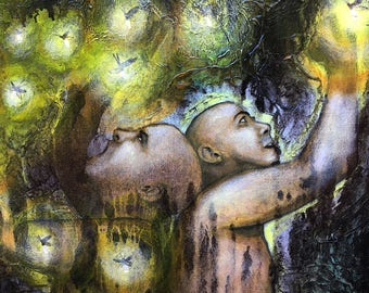 Original Painting Lack And Abundance Wall Art by artist Rafi Perez Mixed Medium on Canvas 24X36
